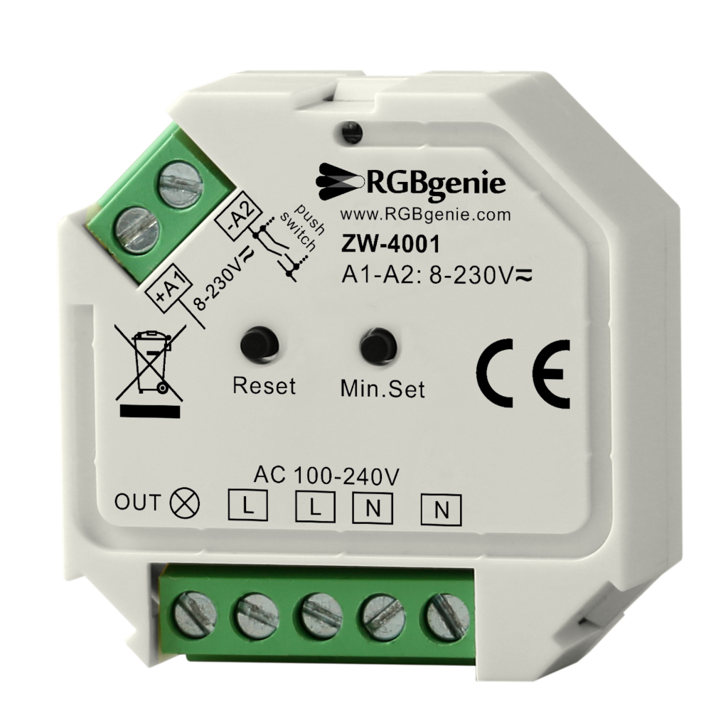 z wave plus micro controller and lamp module single channel trailing edge dimmer rgb genie